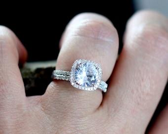 White Topaz Engagement Ring Cushion & Diamonds Halo Set Cuscino Grand Round 2ct 8mm Custom Size White-Yellow-Rose Gold-10k-14k-18k-Platinum