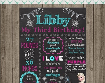 Frozen Birthday Chalkboard Sign - First Birthday Party Chalkboard Sign - Printable 8x10, 11x14, or 16x20 sign-Birthday Photo Prop