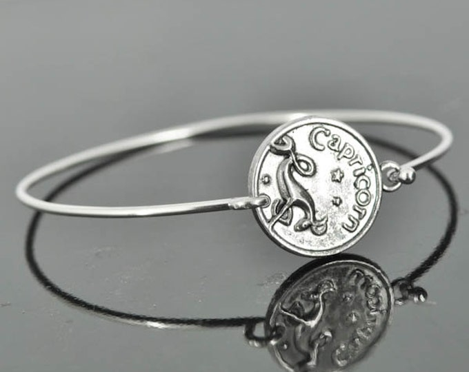 Zodiac Bangle, Sterling Silver Bangle, Zodiac Bracelet, Stackable Bangle, Capricorn, Bridesmaid Bangle, Bridesmaid jewelry, Bridal Bracelet