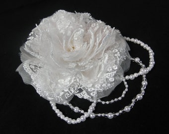 Floral Lace Rose Bridal Headpiece ~ Hair jewellery