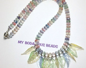 """Handmade NECKLACE 20"""" Muted Pastel Faceted ART GLASS Beads  12 Delicate Matching Leaf Dangles Magnetic Clasp"""