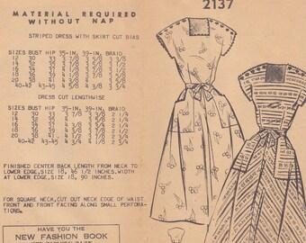 1950s Rockabilly Pullover Day Dress with Button Shoulders Vintage Pattern, Pattern Bureau 2137, Darts, Tie Sash, Square Neck, Patch Pockets