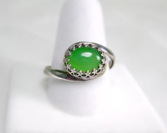 Chalcedony & Sterling Silver Ring, Apple Green, By pass design, gallery bezel, Womens ring, gift for her, spring , summer color, under 50