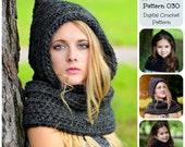 Crochet Pattern, Hat Pattern, Cowl Pattern, The Hooded Cowl Pattern 030, Pixie Hat Pattern