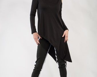 Black Women's Jersey Tunic Women Top, Dress, Shirt open shoulders made to order