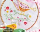 Bird on branch, Bird applique, Hand embroidery kit - Yellow Bird - Christmas decoration, Diy kit, Modern embroidery kit, Craft kit, Gift diy