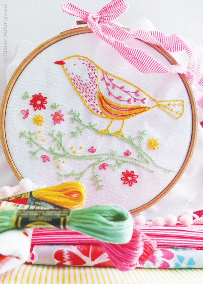 Bird on branch applique hand embroidery kit yellow