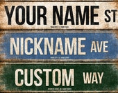 "Custom // 1 Metal Street Sign // 5.5"" x 22"" // Personalized Gift"