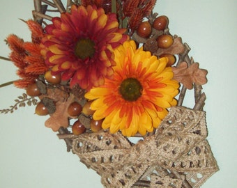 Pear Shaped Wooden Wall Hanging with Red Orange Sunflowers