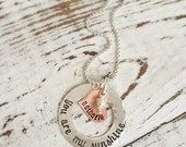 Personalized Necklaces . You Are My Sunshine Necklace . Sunshine Necklace . Love Necklace . Silver Copper . Stamped Jewelry. Mother Necklace