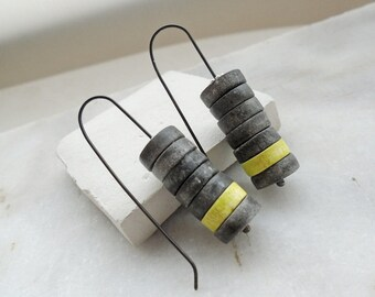 Clay earrings black and yellow modern minimal air dry clay jewelry organic eco friendly shabby chic rustic faux ceramic oxidized sterling