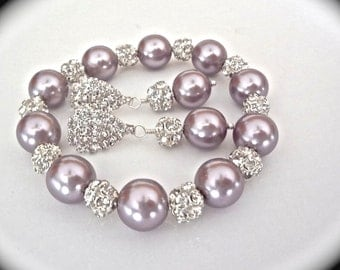 Mauve pearl bracelet and earring set - Purple pearls - Swarovski pearls and crystals - Brides pearl set - Bridesmaids jewelry set - Prom