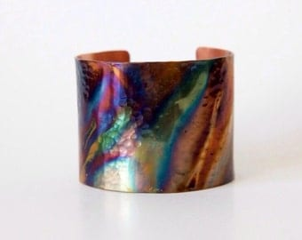 Organic Rainbow Patina Copper Cuff - Hammered Copper Cuff Bracelet - Colorful Patina - Womens Cuff - Rustic Copper Cuff - Boho Jewelry