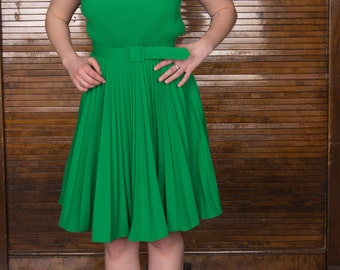 Vtg 60s 70s Pleated Green Summer Dress