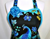 Apron PEACOCK in Blue Green & GOLD Accents on Black, GLAMOUR Hostess, Elegant Pretty Party Gift
