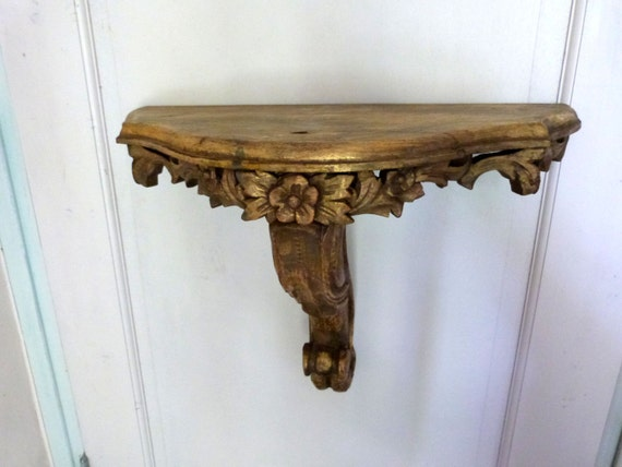 Large Antique French Gilded Wooden Wall Console Shelf BIG