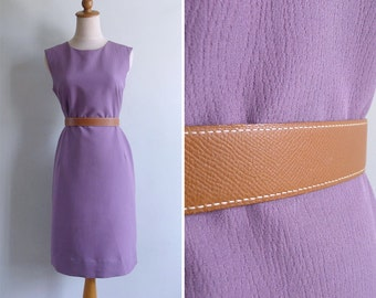50% OFF - Vintage 60's Purple Faux Bois Woodgrain Textured Shift Dress M or L