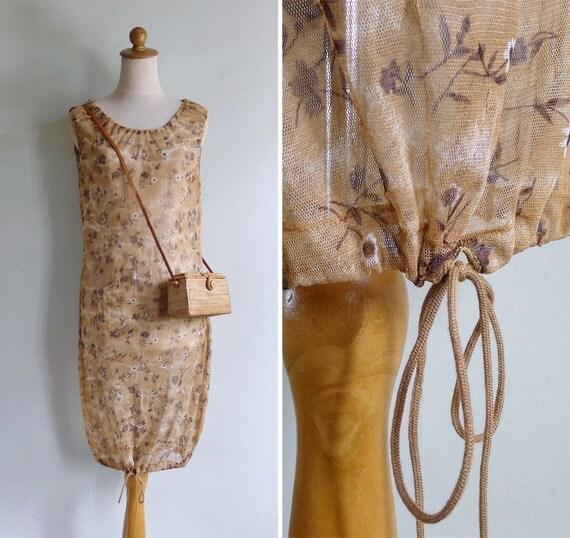 50% OFF - Vintage 90's Cocoon Drawstring Sheer Mesh Avant Garde Dress XS S or M