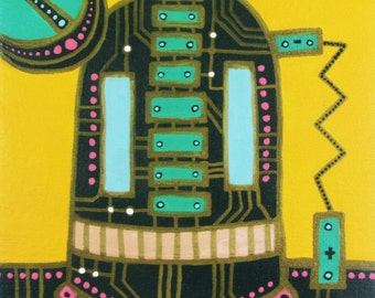 "Original Acrylic Painting of GREEN ROBOT - 8""x8"" Large Bold Bright Acrylic with Gold Detailing on Stretched Canvas"