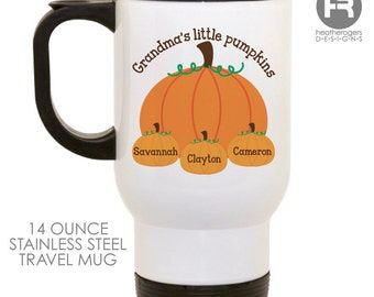 Grandma's Little Pumpkin Mug - Personalized Halloween Mug - Stainless Steel Travel Coffee Mug - Personalized with Grandkids names