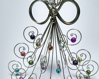 """Standing Angel 4"""" Tall, Silver Tone or Bare Copper Wire, Swarovski Crystal Head, assorted color glittery beads"""