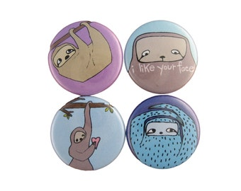 I Like Your Face - Set of 4 Sloth Magnets - Blue and Purple Sloth Magnets