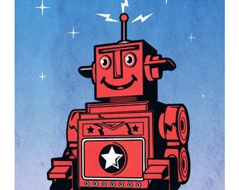 Tin Toy Robot Poster Print, Vintage Tin Toy Robot Poster Art Print