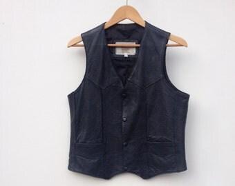 Mens leather vest, vintage black leather, biker motorcycle vest size M