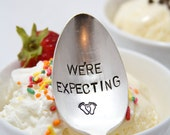 Pregnancy Announcement Spoon. We're Expecting. Stamped Spoon. Unique Announcement for having a baby.