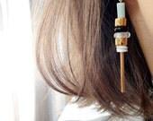 Quartz tube & gold filled ceramic earrings