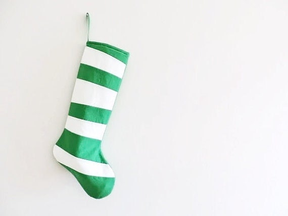 Green Personalized Christmas Stocking Personalized Stocking, Kids Family Stockings, Modern Striped Boy Girl Holiday Decoration, Dr Seuss