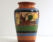 Large Vintage Mexican Tlaquepaque Terracotta Ceramic Vase