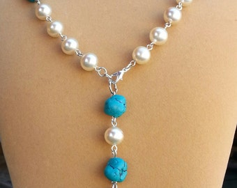 """I-D Lanyard or Necklace.  Faux Pearls and Turquoise . 30.5"""" with 3.5"""" drop."""