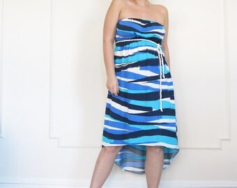 Maternity Jersey Dress in Navy Stripes, Maternity Summer Wear, Beach Holiday,  Expecting a baby