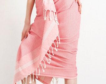 Coral Red Turkish Towel Peshtemal for Bath & Beach Fouta