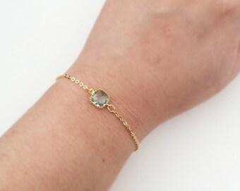 Green Bracelet Gold Mint Seafoam Sage Pine Stone Bracelet Modern Dainty Chic Customized Gift Sister Friendship BFF Wedding Bridesmaids C1