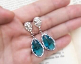 Aqua Earrings Sterling Silver Crystal Glass Blue Teal Bridal Jewelry Wedding Aquamarine Dangling Earrings Bridesmaids Gift C1