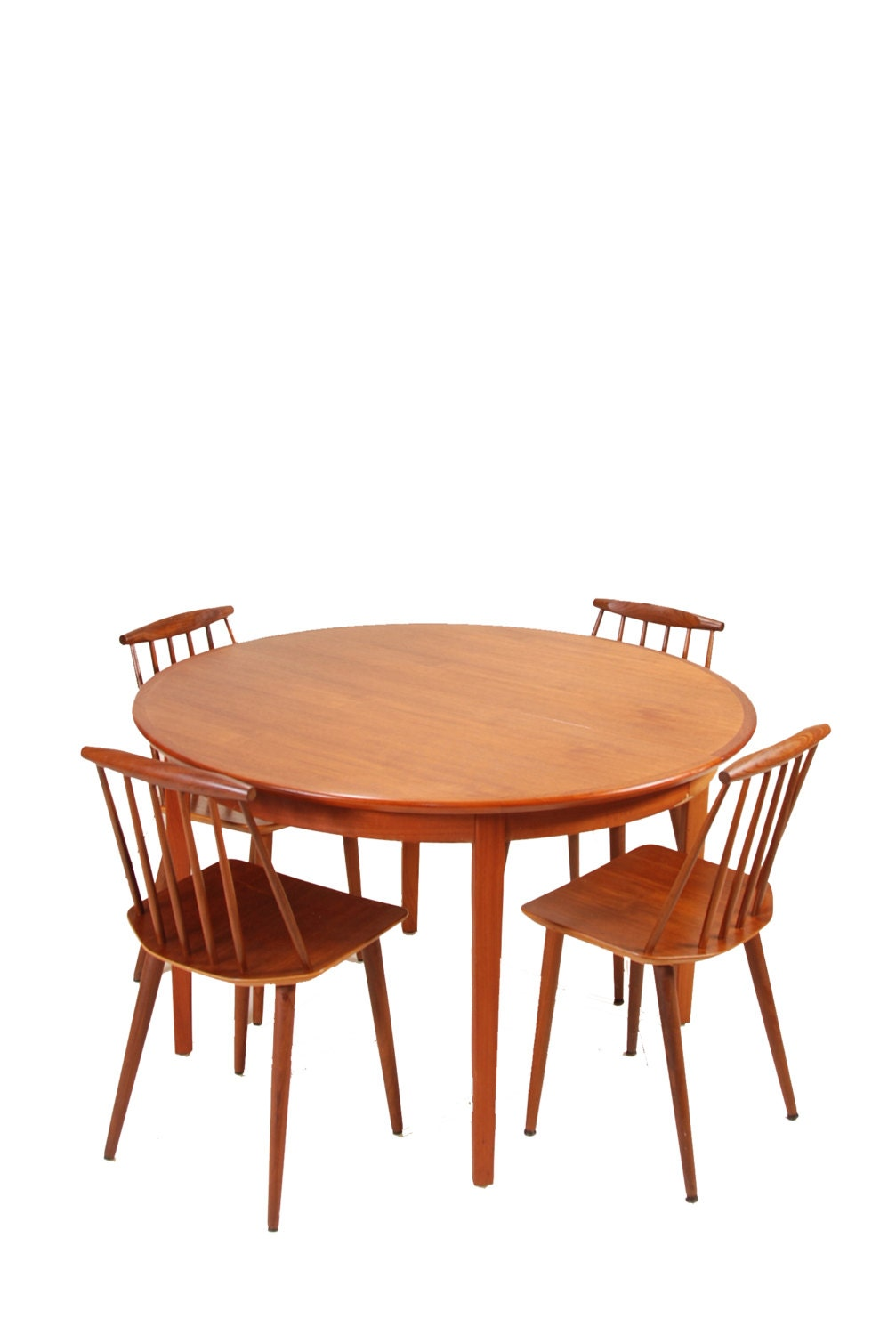 12 person modern round danish teak dining table by motleyla