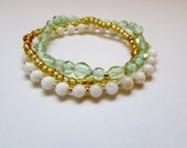 Gold and Green Bead Bracelet Trio