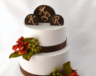 Personalized Buck and Doe Wedding Cake Topper Set