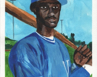 "Jorge Orta. Kansas City Royals. Watercolor and Gouache on Paper. 9"" x 12"""