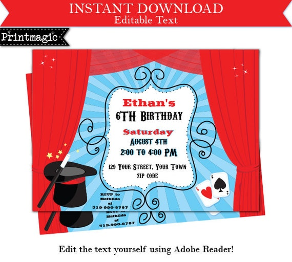 Magic Show Birthday Party Invitation Editable Text By