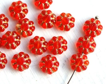 Red Flower beads Red Golden czech glass flat daisy Orange red Golden inlays floral bead - 9mm - 20Pc - 0666