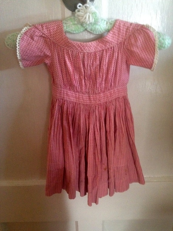 Vintage 1860s Rasberry and White Little Boy or Girl Dress from Bunker Hill Estate