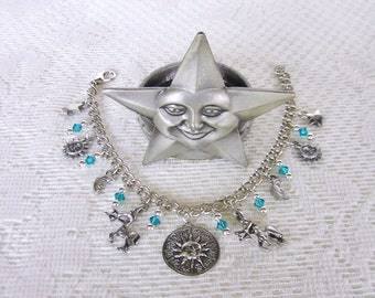 Sagittarius Charm Bracelet Zodiac Bracelet Horoscope Birthday Gift