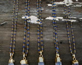 Crystal Quartz & Lapis Rosary Necklace