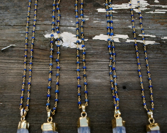 Crystal Quartz & Lapis Rosary Necklace