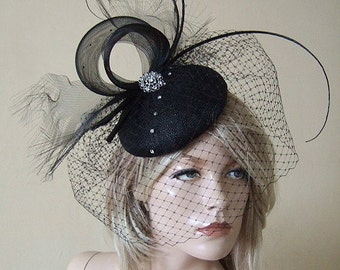 Black Quills and Crystals Veiled Fascinator Headpiece with Frayed Crin Swirls MV177 Winter Wedding Races