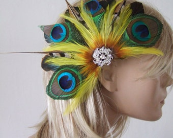 Bridesmaids Prom Green & Yellow Peacock Feathers Crystal Brooch Clip Fascinator Georgie Mother of the Bride Bright Tropical Wedding Fiesta