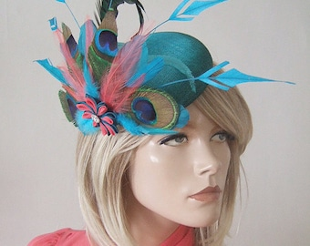 "Turquoise, Teal, Coral Peacock Large Ombre Button Headpiece Fascinator ""Myla"" FG0309 Derby Hat Mother of the Bride Wedding Racing Guest"